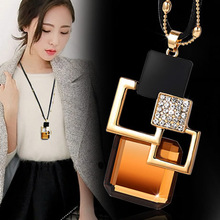 Sweater Chain Crystal Pendant Necklace