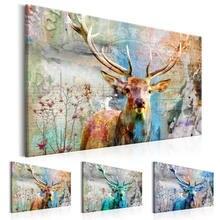Красочный пейзаж холст живопись дикое животное олень плакаты