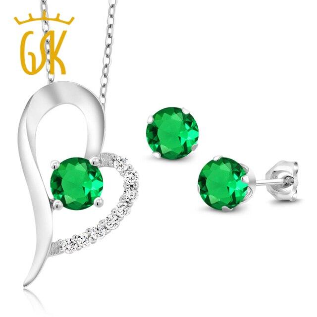 62e8299fd958 GemStoneKing 2.63 Ct Ronda Verde Esmeralda Simulado Aretes En Forma de  Corazón de Plata de Ley