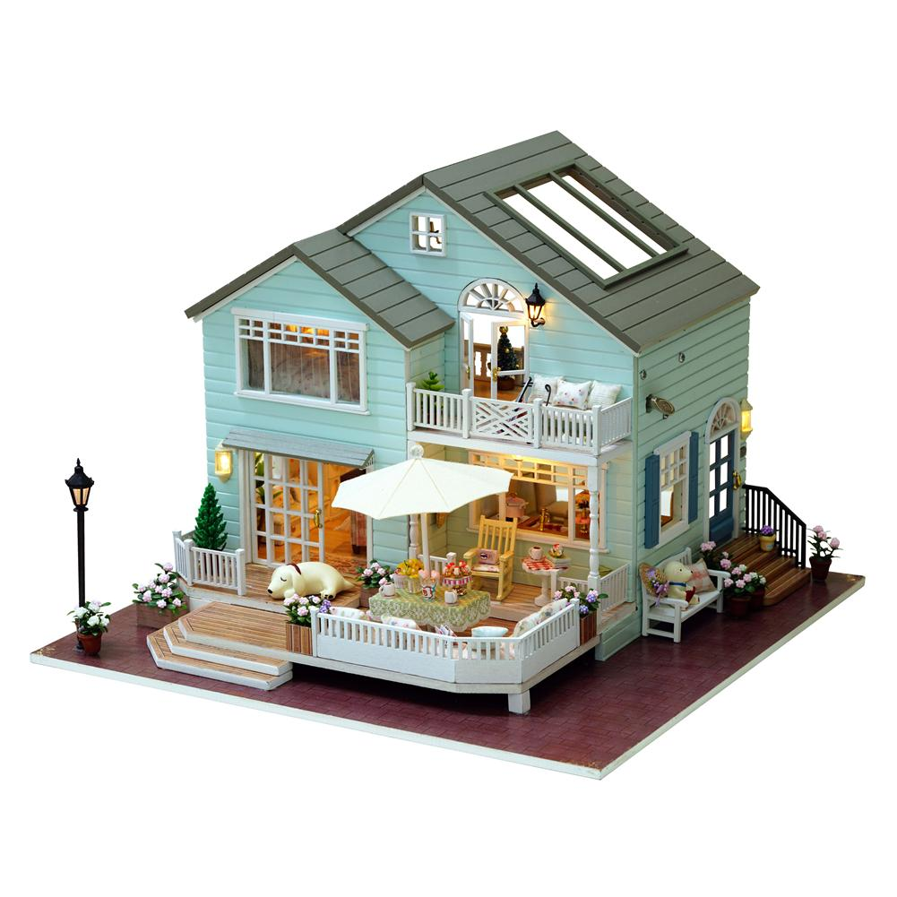 Miniature Doll House DIY Cottage Hand-assembled Wooden Doll House Innovative Birthday Gift - Queen's Town wood building construction blocks simulation house toy diy cottage hand assembled building house model toy blocks birthday gift