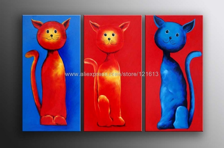 Hadiah Besar Lukisan Minyak Seni Besar Kucing Kontemporer