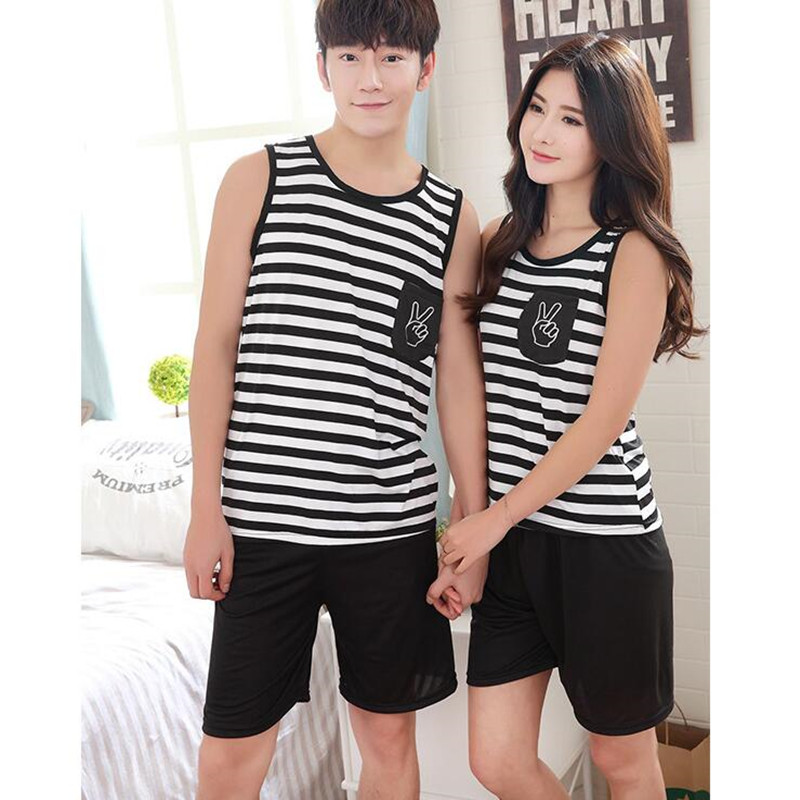New Summer Short Sleeve Lovers Pajamas Men &women Sleepwear Silk Cartoon Leisure Home Wear Clothes Pajamas Sets FT219