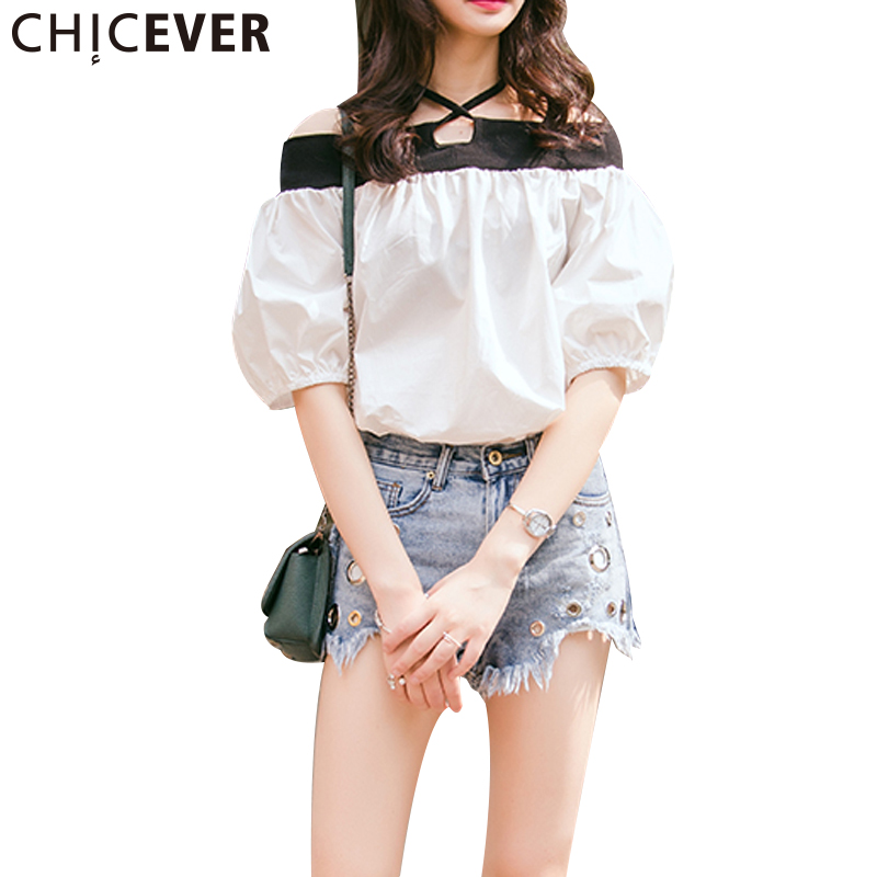 CHICEVER Sexy Off Shoulder Top Female T-shirt Lantern Sleeve Womens Shirt Slach Neck Lace up Tops Casual Clothes Korean Summer