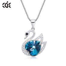 CDE Crystal from Swarovski Necklace Jewelry Women S925 Sterling Silver swan  Necklace Jewelry fashion Fine gift