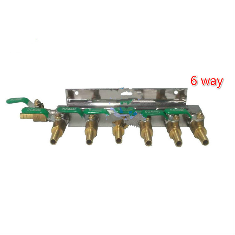 Multi - Way homebrew Co2 Air Gas Distribution Manifold Splitter Draft Beer 1/4 Barb 2/3/4/6/8/10 Way brass valve air pneumatic brass 6 way adjustable oil distributor regulating manifold