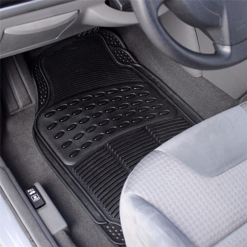 Auto Vehicle Floor Mat Full Set Ridged Anti-slip Universal Car Fit Front Rear 4 Piece PVC Rubber Floor Mat Waterproof Non-slip 5 seats 1 set customs car floor mat leather waterproof front