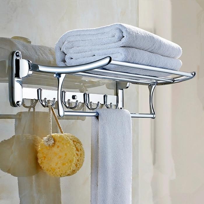 Stainless Steel Towel Rack 304 Bathroom Shelf Folding Rack Of Bathroom Hardware Accessories Chrome Finish 60 Cm stainless steel square tube rotary electric heating towel bar towel rack