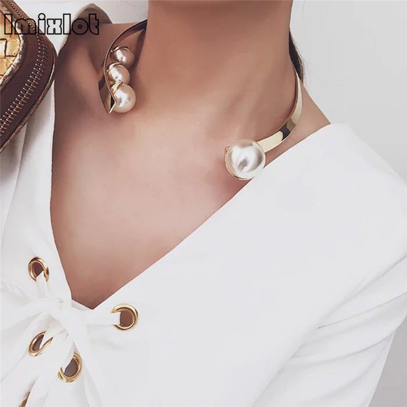 Collares Kolye Simulated-pearl Open Choker Necklace For Ladies Elegant Cuff Collar Statement Torques Party Fashion Jewelry