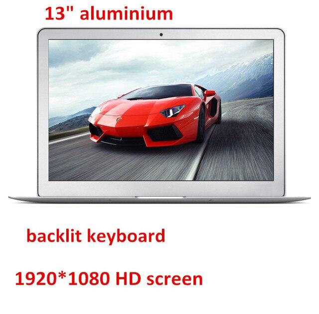 Aluminium ultrabook laptop computer backlit keyboard 13.3inch 1920*1080 HD screen Celeron 2957U 7000mAh battery USB 3.0