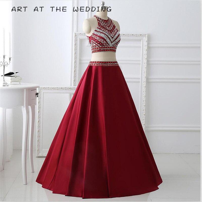 Rouge Tank 2019 nouveau élégant formel sexy mode cristal design deux pièces longue fête robe de soirée taille personnalisée 6-26