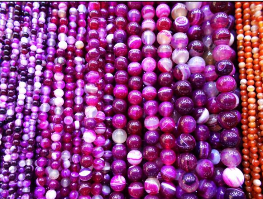 2017 New Wholesale Natural Stone Beads For Jewellery Making Rose Red Banded DIY Round Shape Crystal Beads 4 6 8 10 12 mm