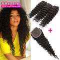 Star Style Hair Products With Closure 3 Bundles Virgin Indian Deep Wave Hair With Closure Indian Curly Virgin Hair With Closure