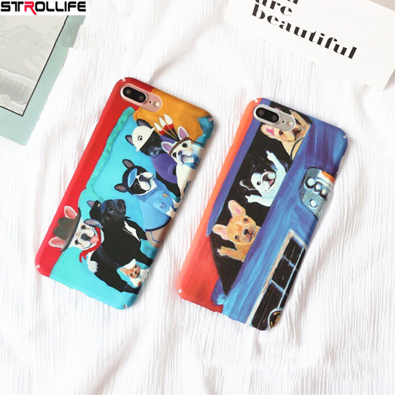 STROLLIFE Funny Cartoon Animal Pug Dog Bulldog Phone Cases For iphone 6 case Slim Matte Hard PC Back Cover For iphone 6 6s Capa