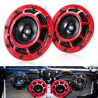 12V 11DB 2 Pcs Universal Red Grille Mount Super Tone Loud Compact Dual Tone Electric Motorcycle