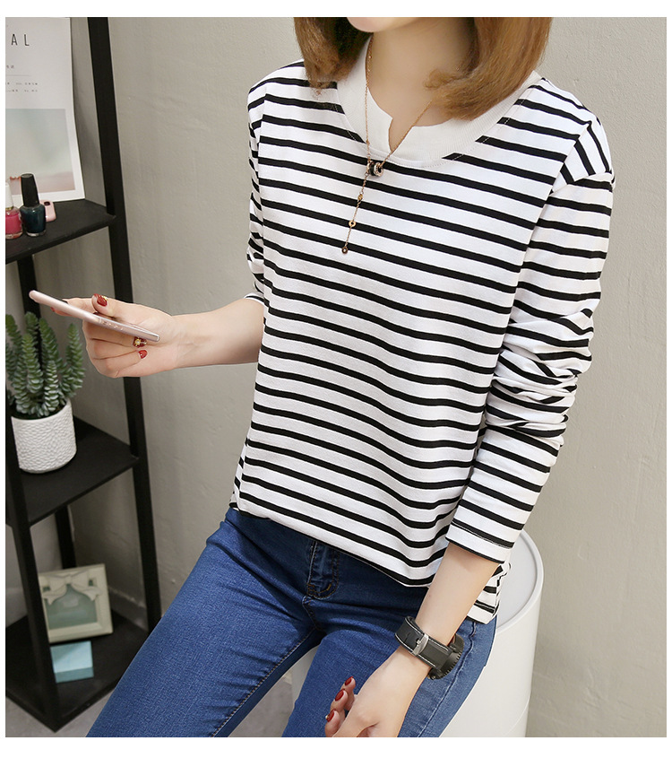 NFIVE Brand 2017 Women's Stripe Loose T-shirts Korean Autumn New Long Sleeved Large Size Shirt Quality Fashion Cotton T-shirt 24