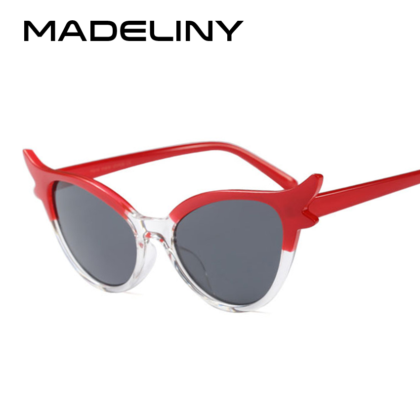 MADELINY NEW Cat Eye Women Sunglasses 2018 Brand Design Fashion Small Frame Vintage Personality Sun Glasses Shades UV400 MA408