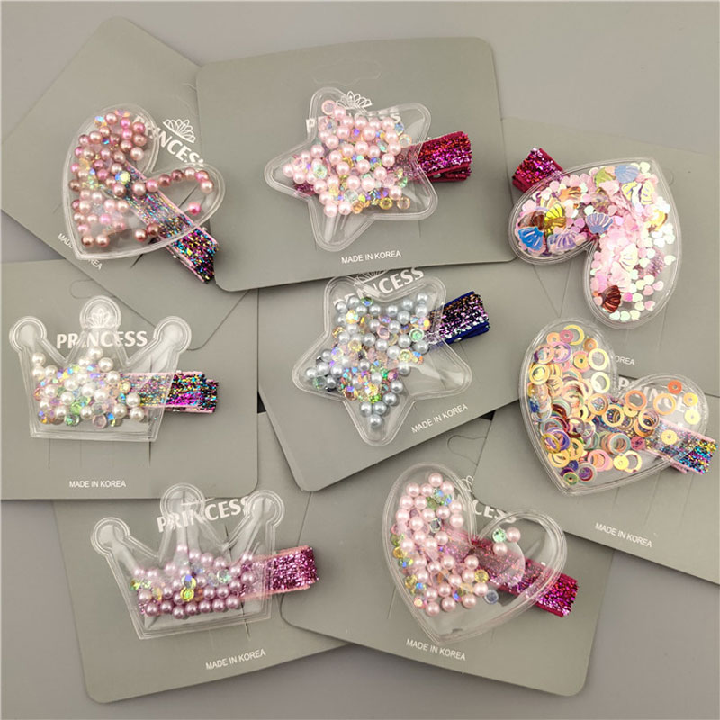 Glitter Star Crown Barrettes Hair Clips For Girls Hair Accessories Twinkle Paillette Hairgrips Sequins Hairpin Kids Headwear