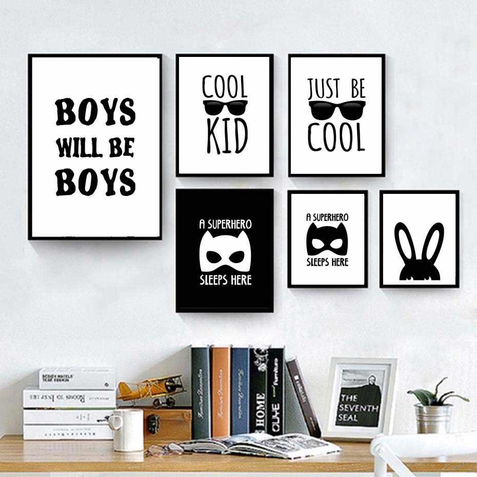سوبر hero ينام hero الحديثة باتمان قماش اللوحة للأطفال الصبي غرفة أسود أبيض الفن طباعة ملصق جدار الصور المنزل ديكور