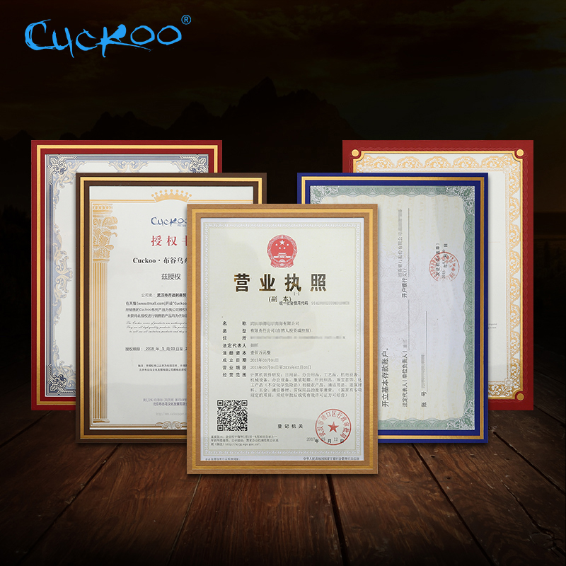 Cuckoo 1pcs Honor Certificate Photo Frame Paper Shell A4 Certificate Photo Wall Hanging Creative Business License Storage Holder