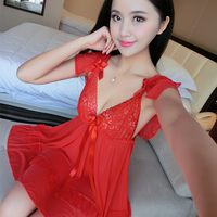 Sleepshirts Woman Sexy Lace Spaghetti Strap Solid Lace Thin Lady Nightgowns For Woman Female Sleep Wear Summer Plus One Size New