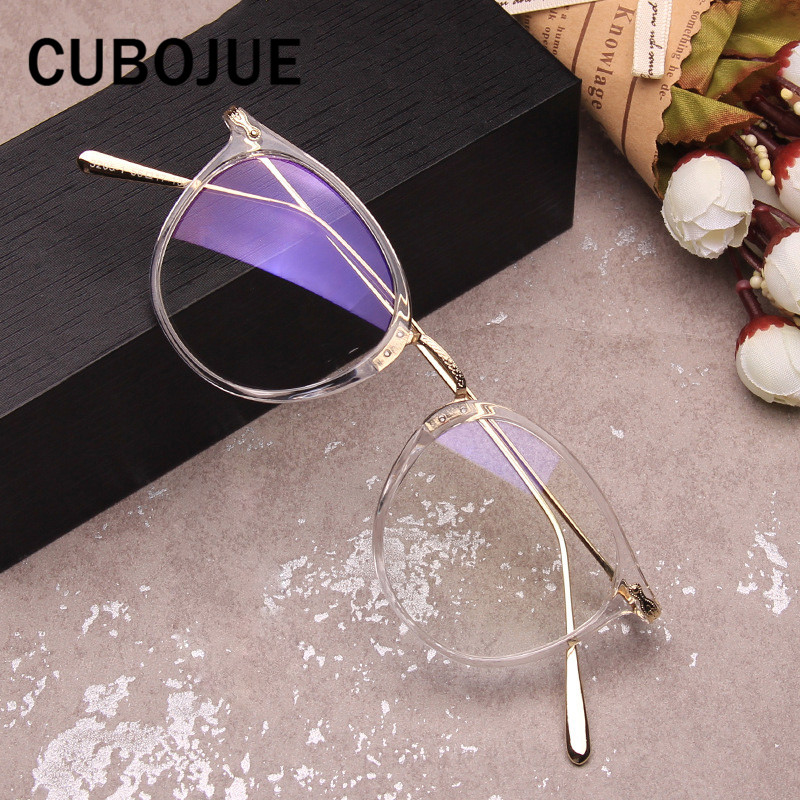 Cubojue Transparent Glasses Women Male Fashion Female Nerd Points for Prescription Spectacles Women's Optical Clear Lens Myopia