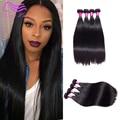 Xuchang Longqi belleza peruana virgen del pelo recto 4 paquetes sin procesar armadura virginal del pelo humano 7A grado Longqi belleza cabello