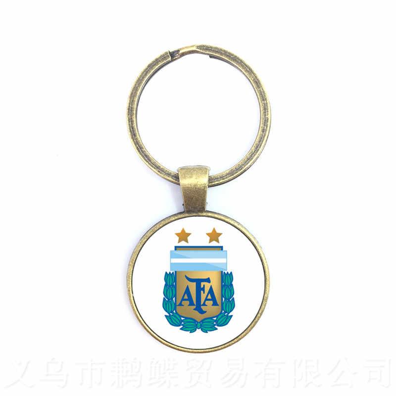 2018 Fãs de Futebol Chaveiro Argentina/Egito/Austrália/Panamá/Brasil Selecção Nacional de Futebol Crachá Cúpula De Vidro Chaveiro Para titan Cup