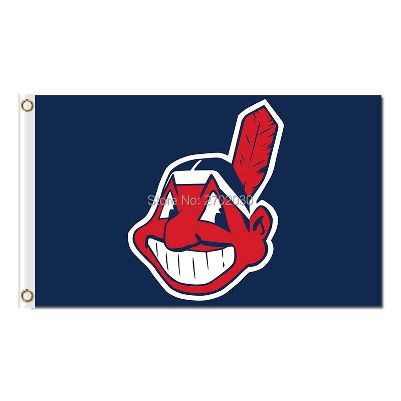 Personalizzati Cleveland Indians Baseball Bandiera Super Fans Squadra Bandiere Striscioni Major League Baseball Champions Indiano 90X150 cm Banner