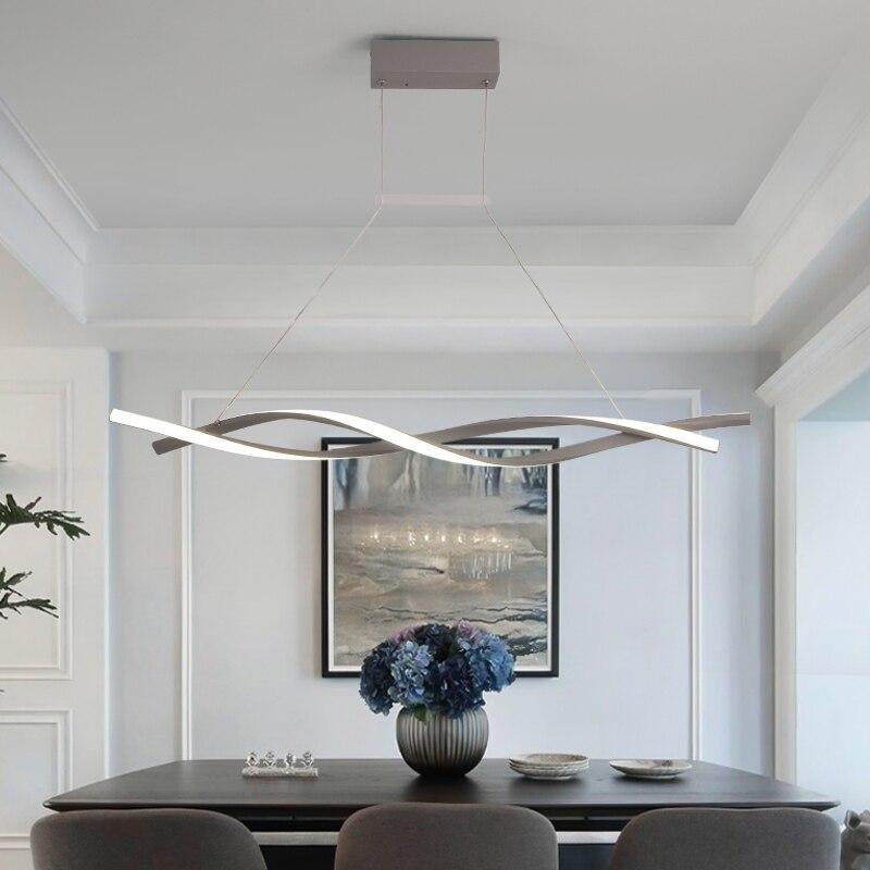 Suspension moderne pour barre de cuisine suspension 110V 220V aluminium vague Avize Lustre suspension pour salle à manger bureau