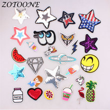 ZOTOONE UFO Space Pentagram Pineapple Sequin Patch Embroidered Iron on for Clothing DIY Stripes Clothes Sticker Appliques