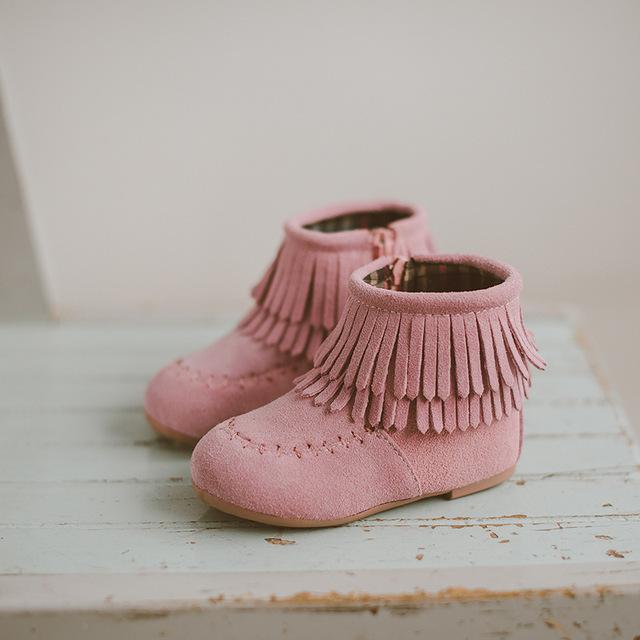 Botas de niña de invierno 2016 nuevos niños con flecos botas de suela blanda tessel cálido niños short shoes niñas niños zapato princesa