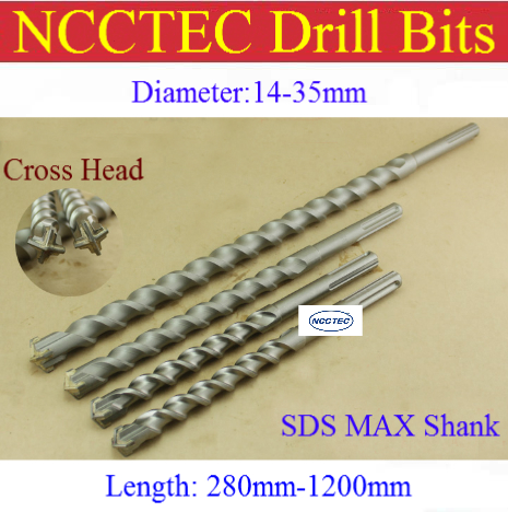 [SDS MAX Cross Head] 13 14 16 18 20 22 25 26 28 30 32 35 38 40mm 4 Cutters Alloy Carbide Wall Core Drill Bits | Hammer Hole Saw