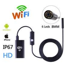 HD Wi-Fi Беспроводной Эндоскопа Змея Инспекции Камеры 8 ММ Объектива IP67 Водонепроницаемый Бороскоп Поддержки iOS iPhone Android 1 м Длина кабель