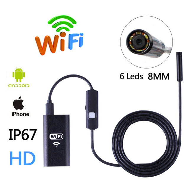HD Wifi Wireless Endoscope Snake Inspection Camera 8MM Lens IP67 Waterproof Borescope Support iOS iPhone Android 1m Length Cable
