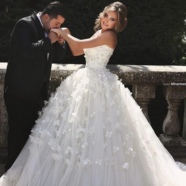Princess Wedding Dress with Handmade Flowers Ball Gown Floor Length ...