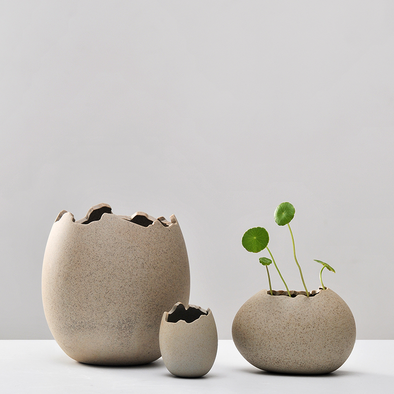 New creative imitation eggshell coarse ceramic vase for Art and craft pot decoration