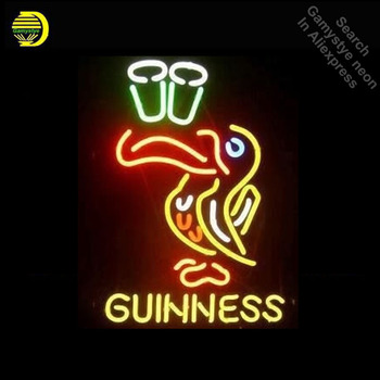 Neon Sign for Guinne Lager Bar Logo Neon Bulb sign Bird handcraft neon light accessories Decorate Room handmade anuncio luminos