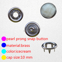 FREE SHIPPING 10mm Good Quality Blue Pearl Prong Snap Button For Shirt Clothes