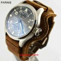 をパーニス 47 ミリメートルグレーダイヤル日付パワーリザーブアジア ST2542 自動メンズ腕時計 W206