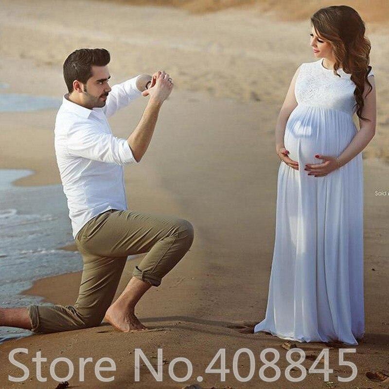 Plus Size Maternity Beach Wedding Dresses Chiffon White Empire Waist ...