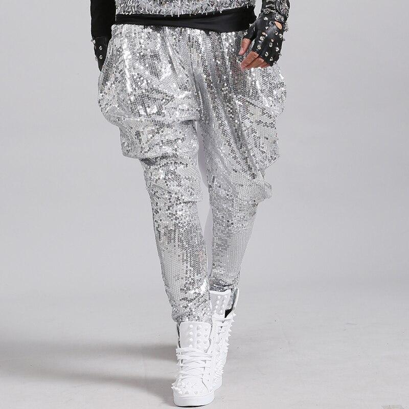 Tij man heldere pailletten Harembroek lange broek zanger danser hiphop Rock dansvoorstelling kostuum Nachtclub tonen potlood broek-in Harem-broek van Mannenkleding op  Groep 2