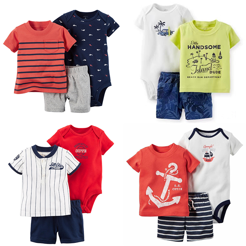 Baby Boys Clothes 3pcs/Set Cotton Print Fashion Newborn Clothing Kids Rompers And T-Shirt Lattice Shorts Infant Outfits