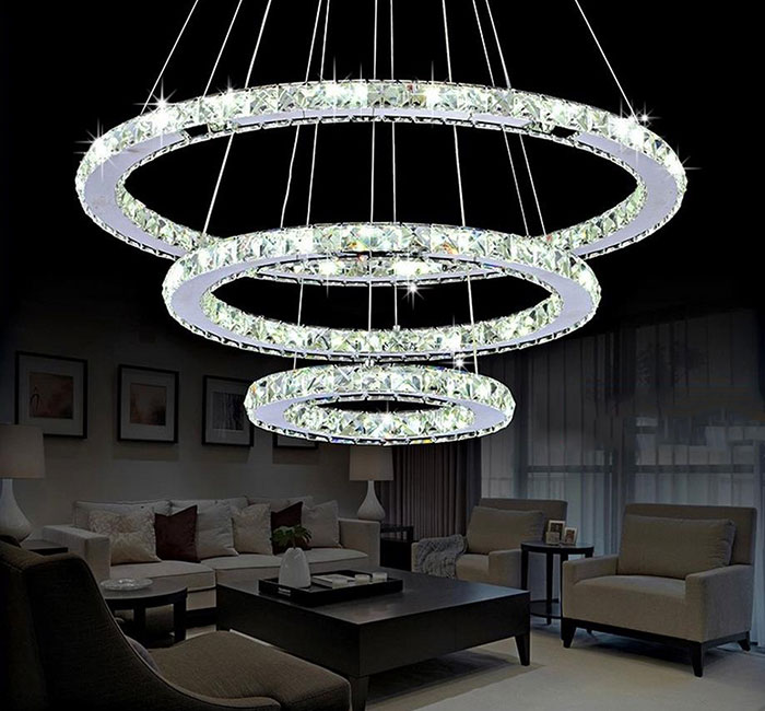 DIY LED Pendant Light K9 Crystal Hanging Lamps Fixtures For Indoor Home 3 rings lustre pendente sala de jantar light pendientes dimmable pendant lights led crystal lighting hanging lamps indoor home light with remote control for hallway indoor home deco