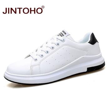JINTOHO Big Size marka moda skórzane buty na co dzień mężczyźni skórzane buty skórzane męskie trampki białe męskie skórzane buty tanie i dobre opinie Zima Podstawowe Pasuje prawda na wymiar weź swój normalny rozmiar Oddychająca Wodoodporna Wysokość zwiększenie Lace-up