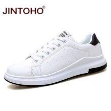 JINTOHO büyük boy marka moda rahat deri ayakkabı erkekler deri ayakkabı deri erkek Sneakers beyaz erkek deri ayakkabı