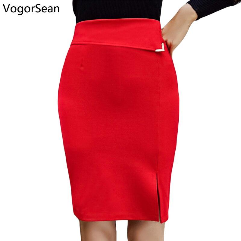VogorSean Womens Pencil Skirts Spring Summer Bodycon Slim Skirts Elegant Open Slit Red Skirts For OL Lady Women Go To Work