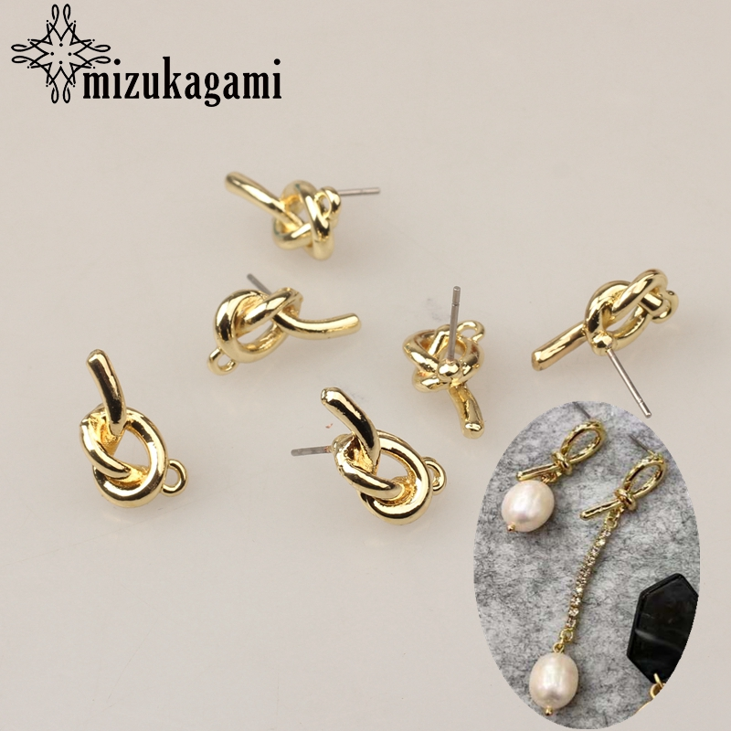 Zinc Alloy Golden Metal 3D Simple Knot Earrings Base Connectors Linkers 9*16mm 6pcs/lot For DIY Earrings Jewelry Accessories