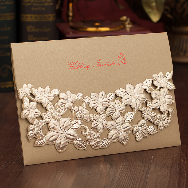 Us 40 0 Elegant Wedding Invitation Cards Gold Red Hollow Flower Birthday Party Invites With Envelope In Invitations From Home Garden On