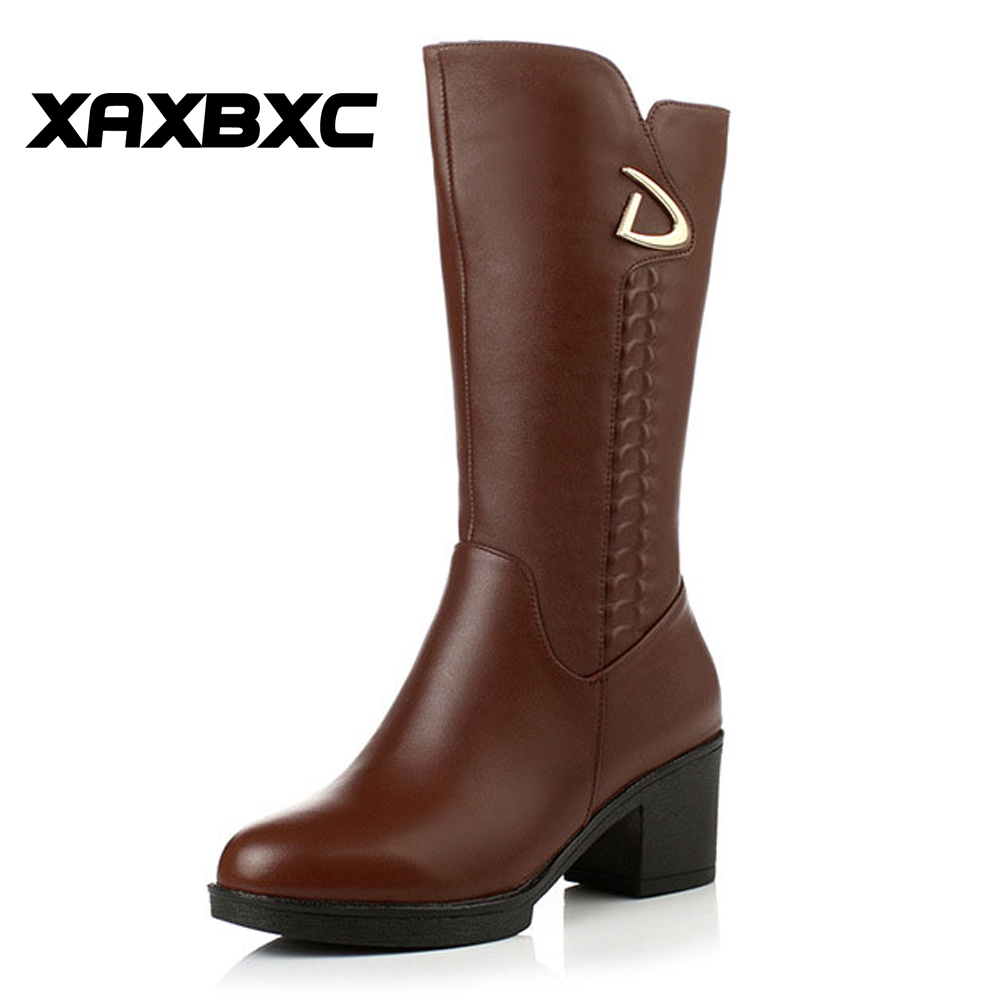 XAXBXC Winter Fashion Genuine Cow Leather Mid-Calf Plush Wool Boots Women Zipper Casual Lady Girl Plus Size Buskin Shoes double buckle cross straps mid calf boots