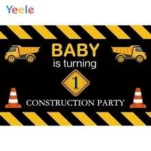 Yeele Baby 1st Birthday Construction Party Photography Backgrounds Vinyl Custom Photographic Backdrop For Photo Studio Props цена